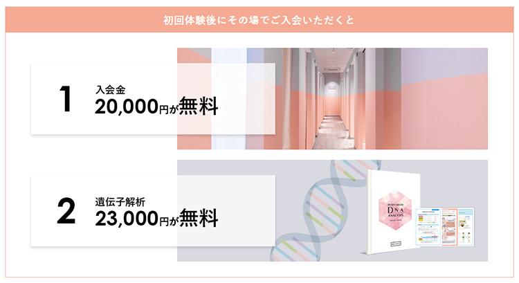 初回体験・コース入会金・遺伝子解析サービス無料